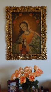 """Cusco-Style"" picture of the Virgin, at our home, with flowers"