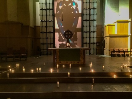 Candles in front of altar